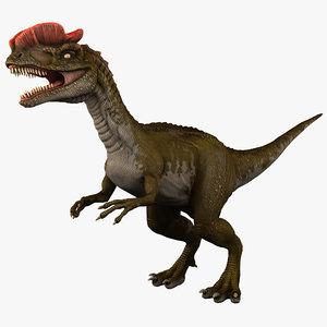 3d dilophosaurus 3 model