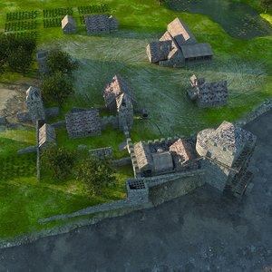 medieval village 3d model