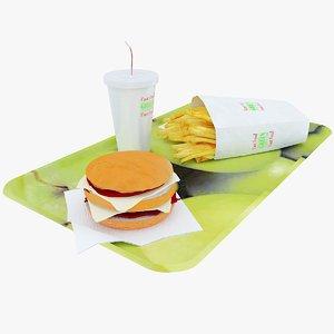 fastfood tray 3d obj