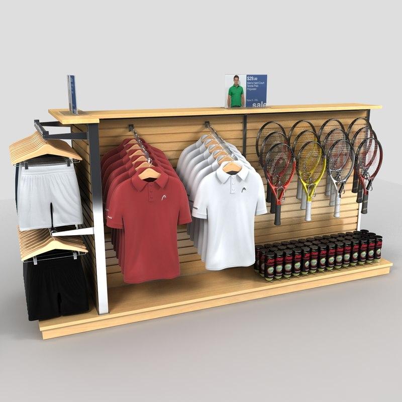 retail clothing tennis gear 3d max