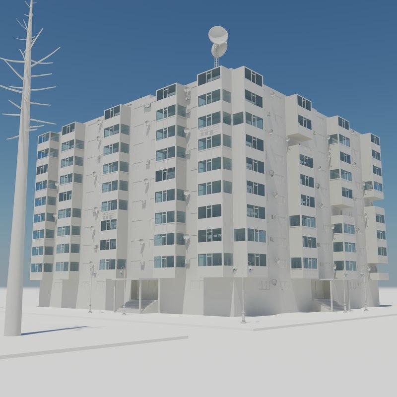scene block houses 3d model
