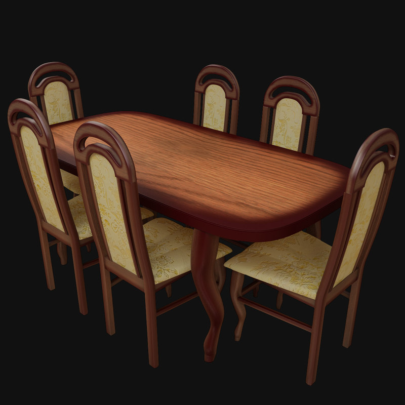 wooden table chair 3d
