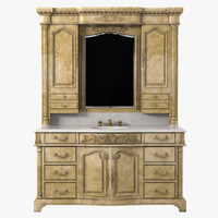 Ambella Home Monticello Sink Chest with Lighted Hutch Mirror
