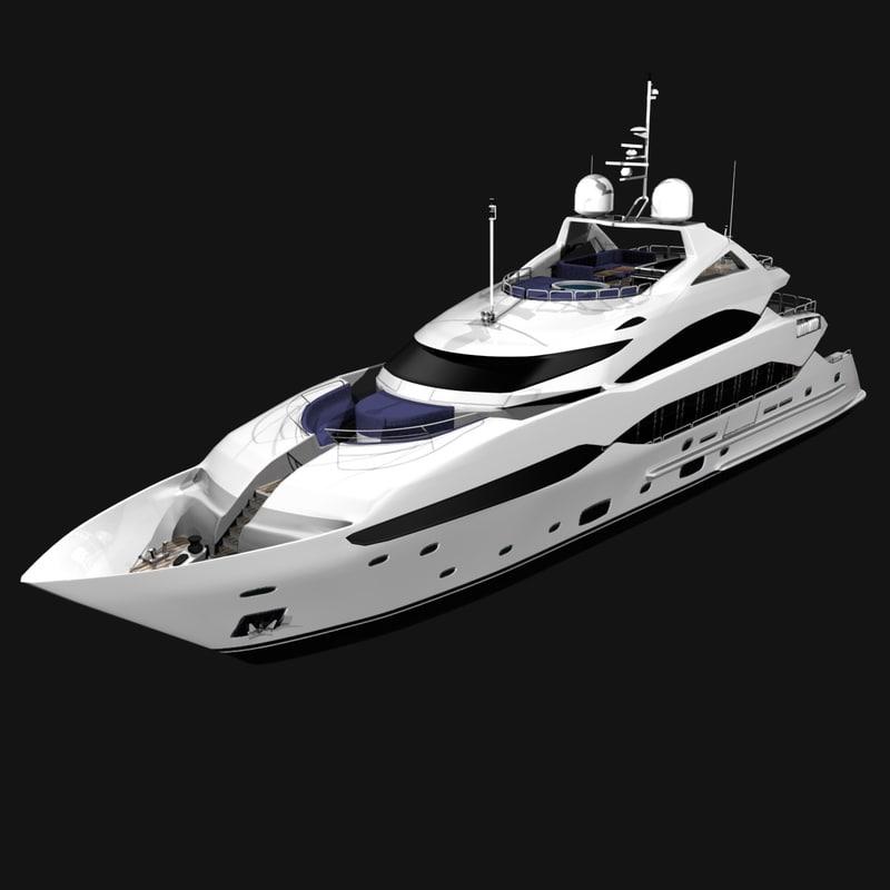 3d 40 sunseeker yacht cruising model