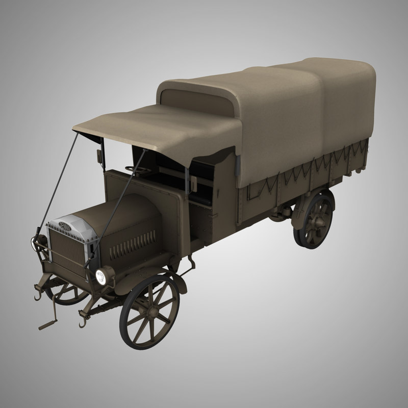 ww1 dennis lorry truck army 3d model