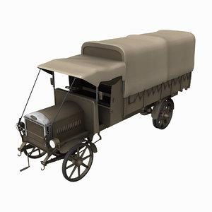 ww1 dennis lorry truck army 3d model