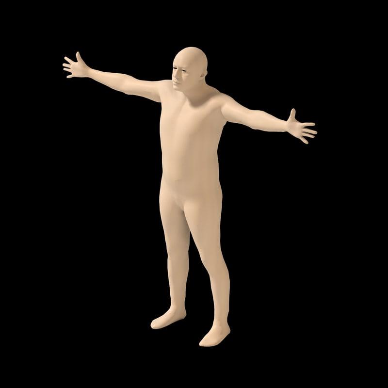 human t-pose rig 3d x