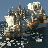 fantasy village ice 3d max