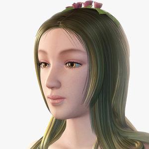 3d model fairy girl face