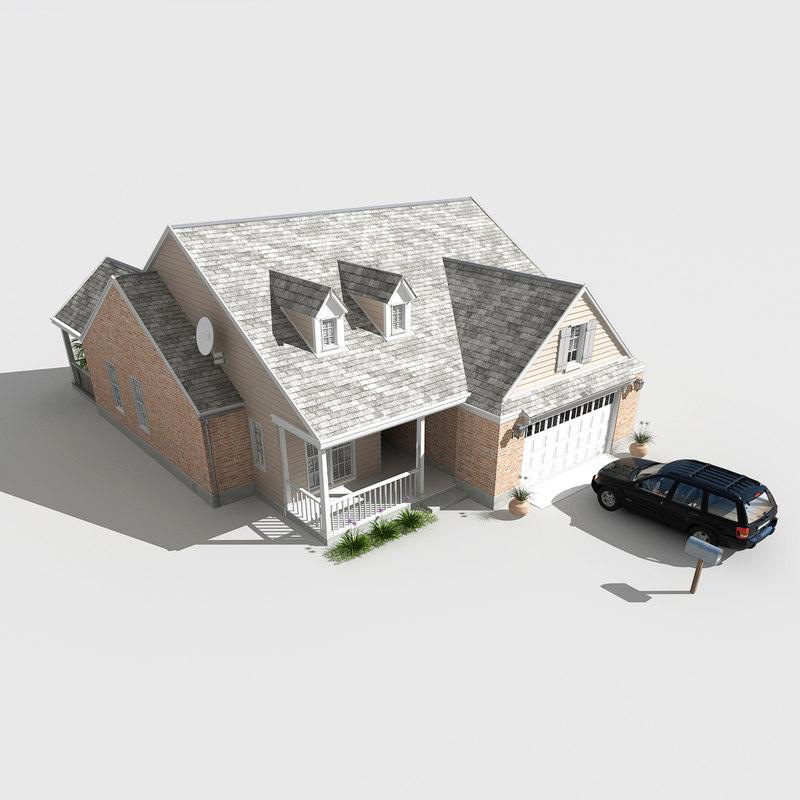 3d max suburban house
