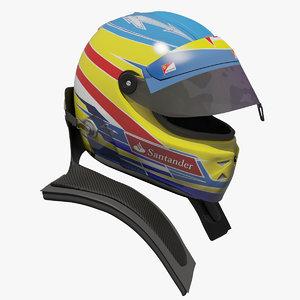 3d model fernando alonso 2012 helmet