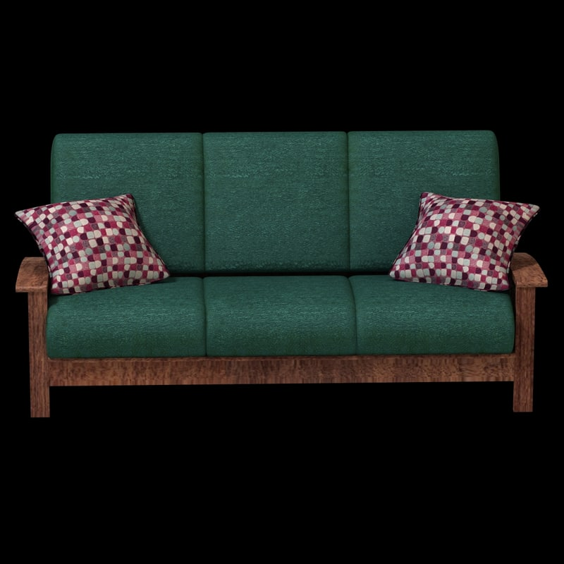 3d model couch cloth wood
