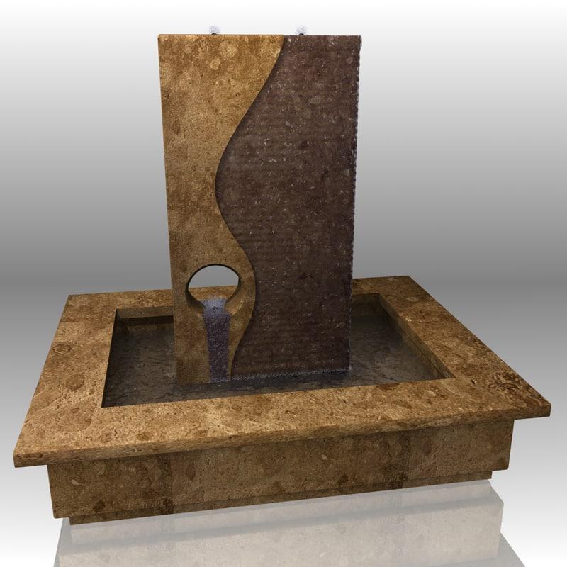 indoor granite water fountain 3d obj