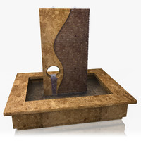indoor granite water fountain 3d obj