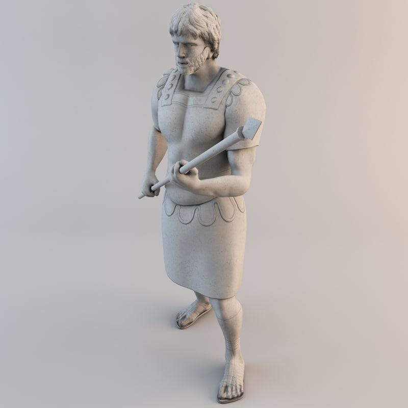 3dsmax roman soldier statue legioner