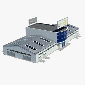 hangar warehouse contains 3d model