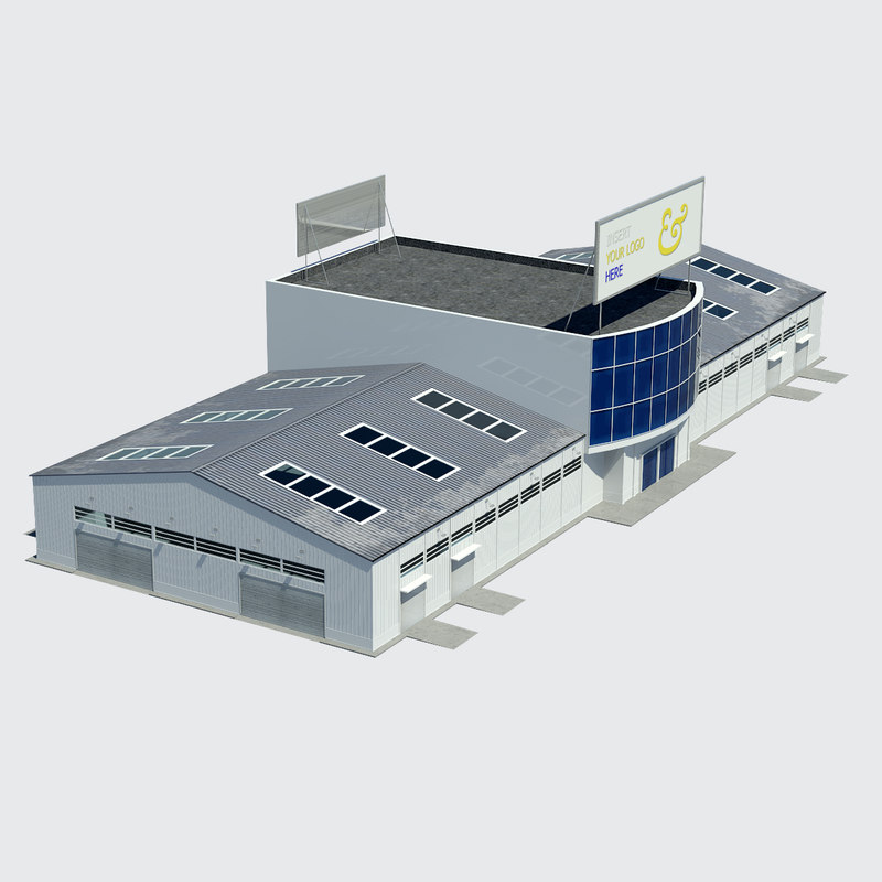 hangar warehouse contains 3d model