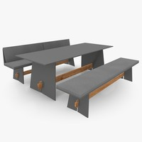 straight-lined patio furniture set 3d model