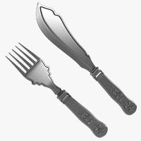 3d model silver cutlery