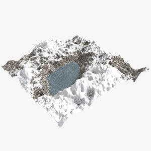 3d c4d snowy mountain