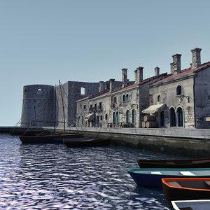 3d model port old italian