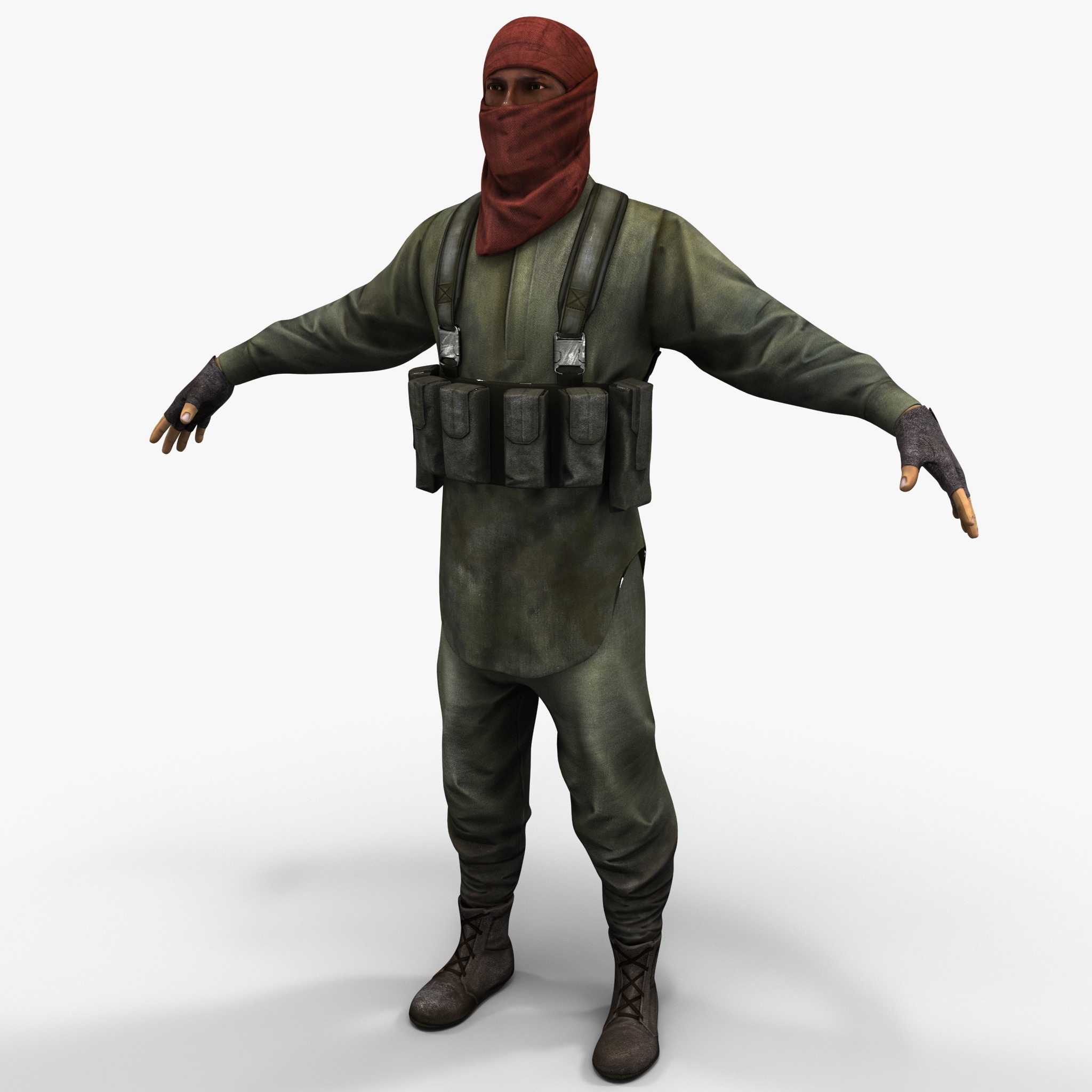 rigged guerrilla soldier 3d model