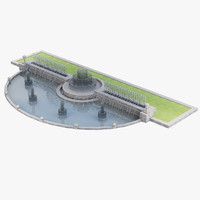 3d city fountain water