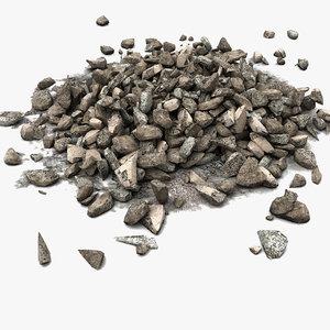 debris stone rock 3d max