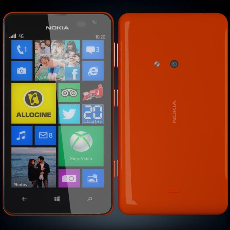nokia lumia 625 red 3d model