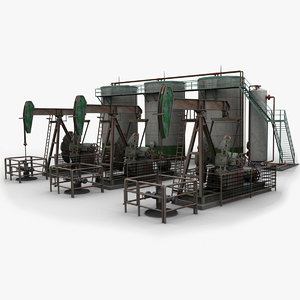 3d pumpjack oil tanks model