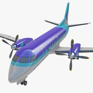 3d model passenger aircraft saab 340