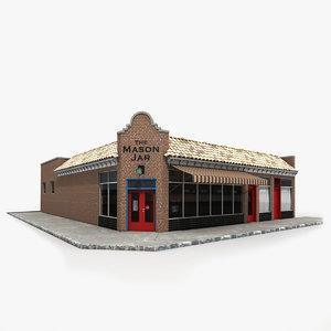 3d model brick restaurant 1