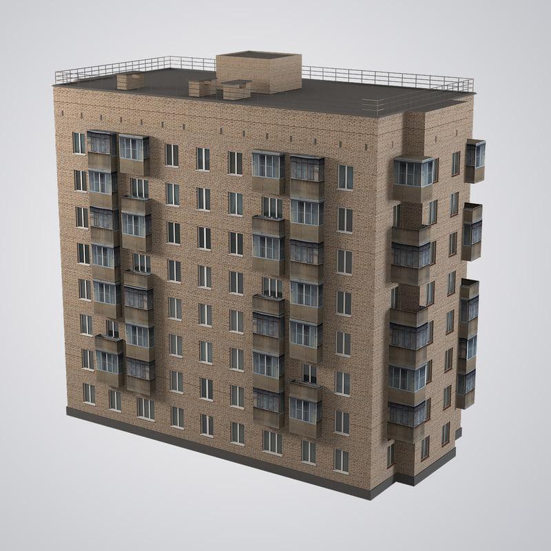 3d brick old civil building
