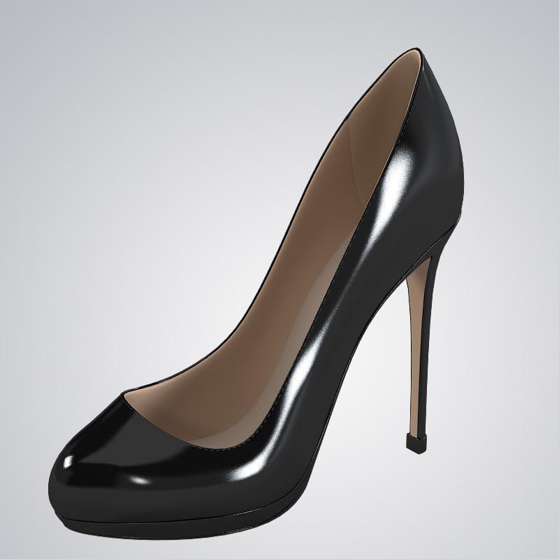 leather platform shoes 3d max