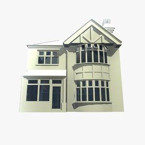 2 british detached houses 3d model