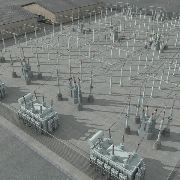 3d electrical substation scene