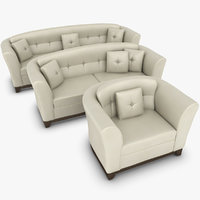 3ds max realistic leather sofa set