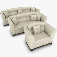 3ds max realistic leather sofa set