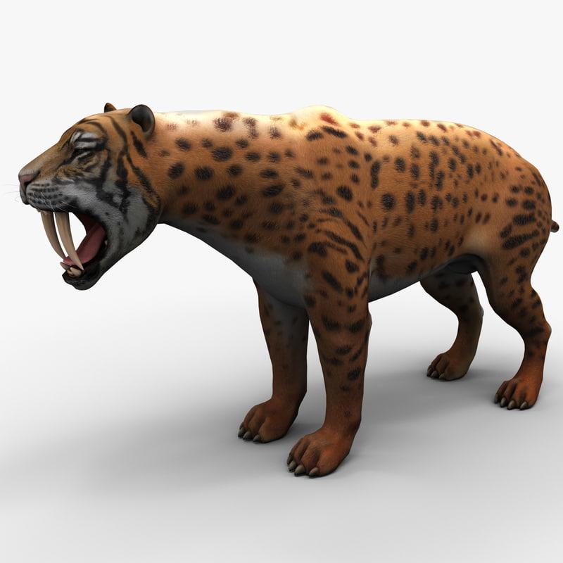 3d model smilodon 2 rigged