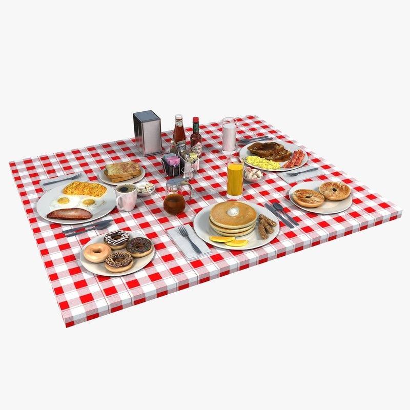 3d breakfast food table setting