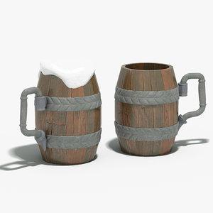 ancient beer mug 3d 3ds
