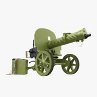 m1910 maxim machine gun 3d max