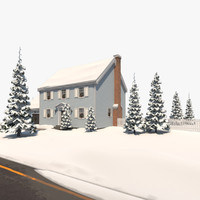 3dsmax colonial house christmas snow