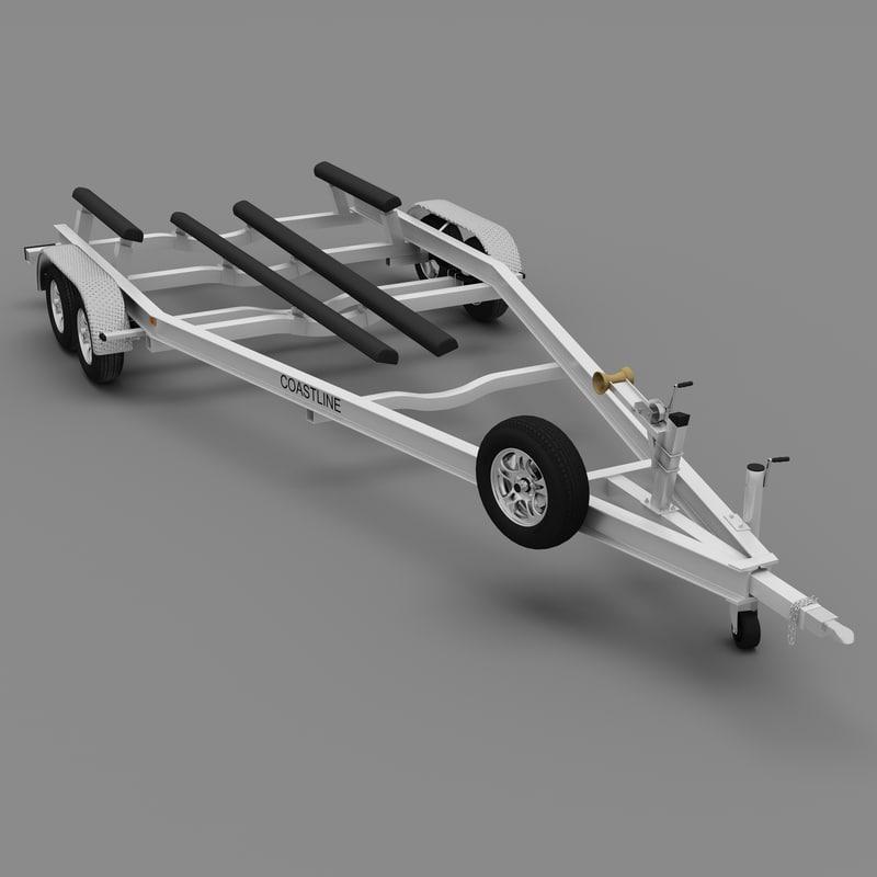 boat trailer coastline 3d model