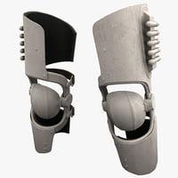3d futuristic soldier armor knee model