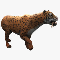 smilodon 2 pose 1 3d model