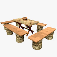 nature wooden table benches 3d model