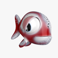 sad fish cartoon 3d model