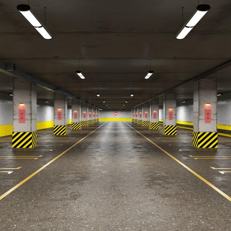 underground parking cars 3d model