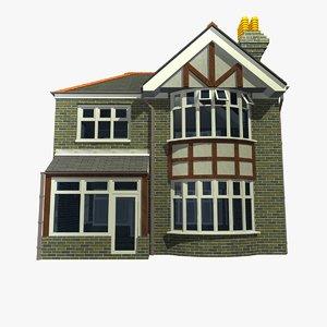 3d model 2 british detached houses